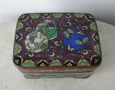 JAPANESE CLOISONNE BOX Purple Cobalt Green on Copper Spheres & Flowers 1800's