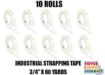 """10 Rolls Uline Industrial Filament Strapping Tape 3/4"""" x 64 Yards Clear Packing"""