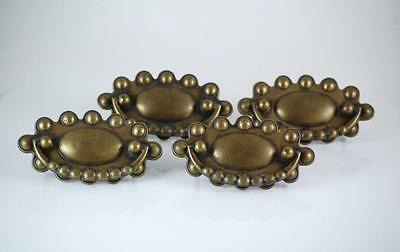 VINTAGE 4 DOUBLE POST BRASS DROP DOWN BEADED DRAWER PULLS~ca. MID 1900's