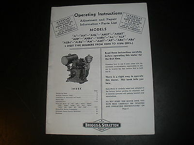 Briggs & Stratton Gas Engine model A Operating Instruction Manual Reprint