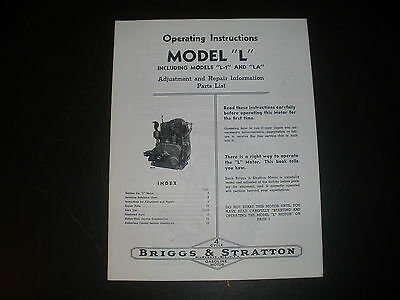 Briggs & Stratton Gas Engine model L Operating Instruction Manual Reprint