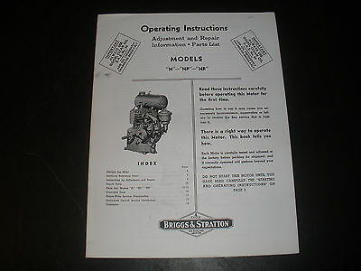 Briggs & Stratton Gas Engine model N Operating Instruction Manual Reprint