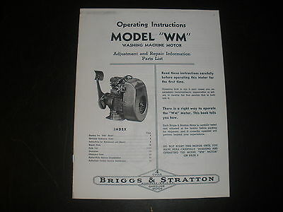 Briggs & Stratton Gas Engine model WM Operating Instruction Manual Reprint