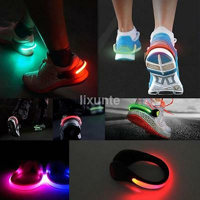 1X LED Flashing Shoe Light Safety Heel Clips Running Jogging Night Trainers Walk