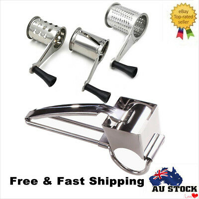 Stainless Steel Rotary Cheese Grater Vegetable Shredder Fruits Slicer 3 Drum Set