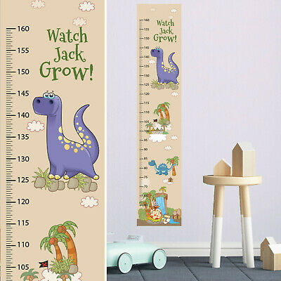 Personalised Boys Girls Height Fabric  Growth Chart Dinosaur Design Add Name DOB