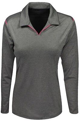 ADIDAS GOLF Gray Small Ladies Puremotion Long Sleeve Polo Pink Accent New!