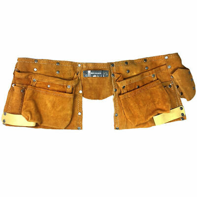 11 Pocket Professional Tool Belt/Bag Gold Suede/Leather Nail/Hammer Holder/Pouch