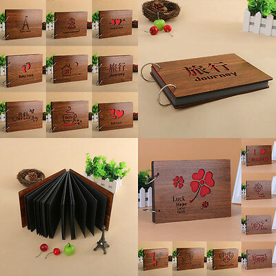 New Wood Cover Photo Album Scrapbook DIY Loose-leaf Photos Vintage Mexican Gift