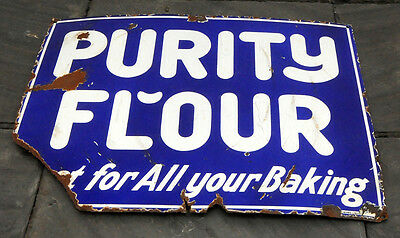 "1920's Purity Flour HTF Heavy Porcelain Sign Best For All Your Baking 18"" x 24"""