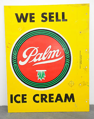"1950's Palm Ice Cream RARE Original Unused Metal Flange Sign 14"" x 18"" Dairy"
