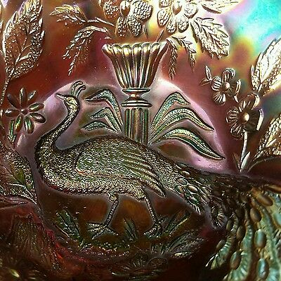 Extra Rare Vintage Millersburg Peacock and Urn Large Bowl. Amethyst/Iridescent