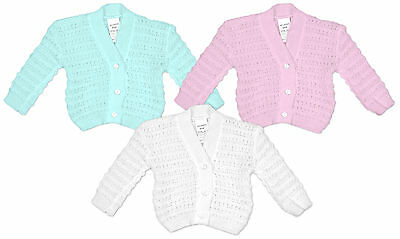Baby Knitted Button Cardigan Cardi Acrylic White Pink Blue Newborn to 9 Months