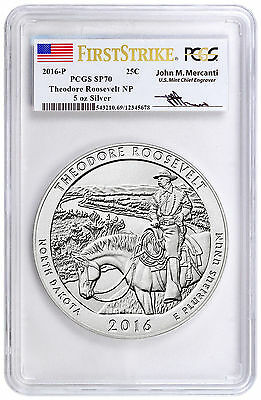 2016 Silver ATB Coin Theodore Roosevelt NP First Strike PCGS SP70 Mercanti 5 oz