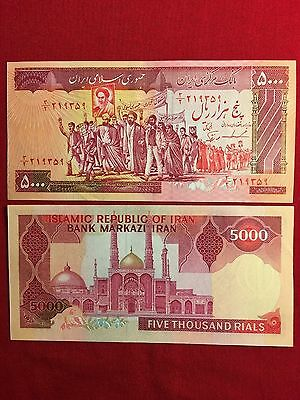 Iran Iranian 5000 5,000 Rial Banknote Currency Paper Money AUNC