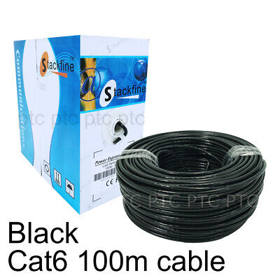 ATcom Cat 6 100m Roll UTP Ethernet LAN Network Cable Cord Lead Box-Black