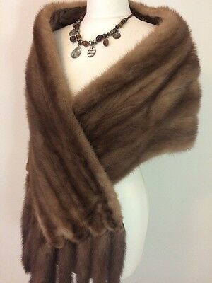 """Vintage Gorgeous Pastel Mink Real Fur Stole Shawl Wrap With Tails 70"""""""