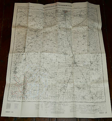 Ordnance Survey Outline Seventh Series One Inch Map HUNTINGDON AND PETERBOROUGH