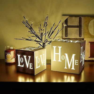 3 Led Warm White HOME or LOVE Xmas Christmas Decoration Light Up Cube Box Gift