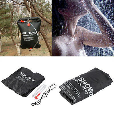 Black Outdoor Hiking Folding Solar Camp Shower Water Bathing Bag 40L OE