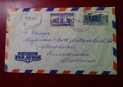Syria 1954Cover to Manager of The North of Scotland & Clydesdale bank, Free ToUK