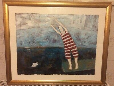 'Diving' by Paula McArdle ORIGINAL Painting HAND PAINTED Naive Art UK Artist