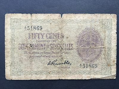 Seychelles 50 Cents P1e Not Dated Issued 1936 King George V Good