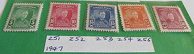 Postage Stamps Costa Rica:  Set of Five (5) FDR Mint Stamps Dated 1947