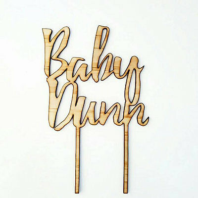 Custom timber cake topper for baby shower. Personalised wooden party decor.