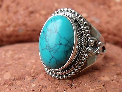 Sterling Silver 925 Silver Ring Turquoise Size  N 1/2 * Us 7 Silverandsoul