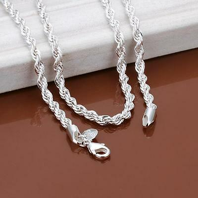 "3mm Silver Sterling 925 Twisted Rope Chain Necklace Length 16""/18""/20""/22""/24"""