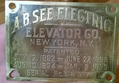 a.b.see elevator plate, emblem, new york city