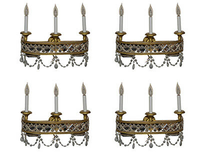 Antique Brass and Crystal 3-Light Sconces Set of Four