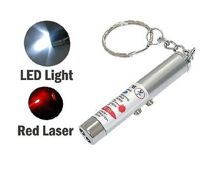 NEW 2-in-1 Laser Lazer Pen Pointer Keychain Keyring With torch Cat Dog Toy UK