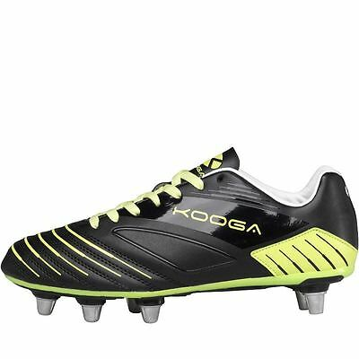 Kooga Advantage Rugby Boots Black/Lime Soft Ground Mens Studs Cleats Footwear