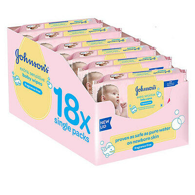Johnson's Baby Extra Sensitive Fragrance Free Wipes Pack of 18 Total 1008 Wipe
