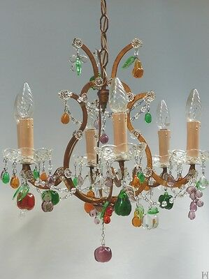 Murano glass chandelier with hand made fruits and macaroni beaded garlands 1940s