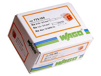 Wago 773-104 4 way Push Fit Terminal Connector Full Box of 100
