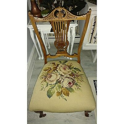 Antique Beautiful Carved Wooden Back and Floral Fabric Seat Cover Dining Chair