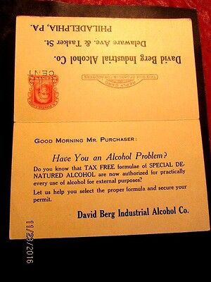 UY9 unsevered 1922 Phila. cds.  Industrial alcohol ad, mindful of Prohibition, c