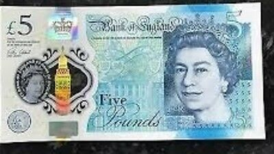 Five Pound £5 Bank Of England New Polymer  Note AA34313913