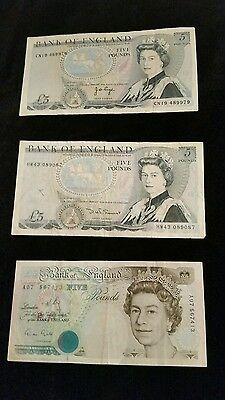 Old Vintage Bank of England £5 Five Pound Notes
