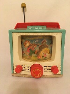 Vintage-Peek-A-Boo-Screen Tv Music Play Box Fisher Price Toy