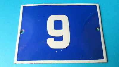 Vintage Door House Blue Porcelain Enamel Number 9 Tin Sign Plate