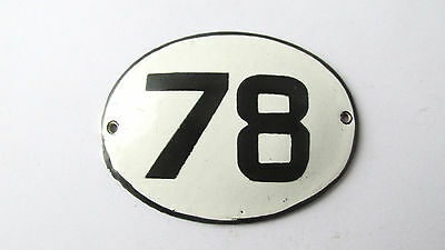 Old Vintage Antique Enamel Porcelain Sign House Number 78