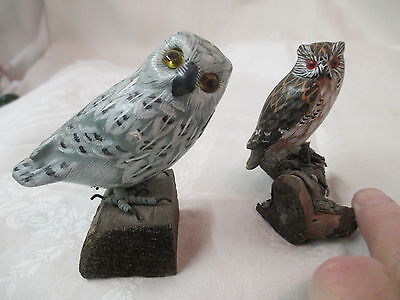 Vintage 2 Pottery painted Owl Figurines on wood branches