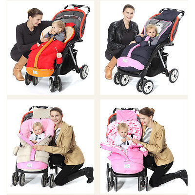 Baby Strollers Pushchairs Prams Cot Bed Footmuff Sleeping Bag Cosy W/ Gloves
