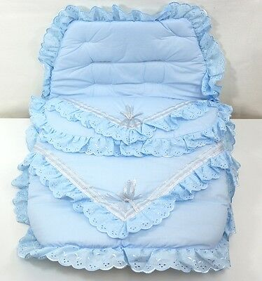 Blue Romany Bling Footmuff Buggy Cosy Toes Stroller Liner Frilly Lace Universal