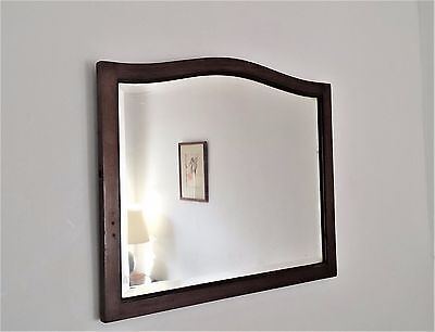Vintage Victorian Arch Bevelled Wall Hall Mirror Mahogany Wood Frame
