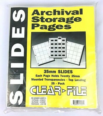Archival Storage 35mm Slide Pages Pack of 25 New Clear File NIP Photo